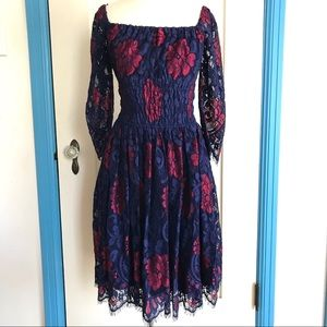 MYSTIC Red & Blue Lace Dress S